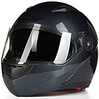 ILM 8 Colors Motorcycle Modular Flip up Dual Visor Helmet DOT (L, Carbon Fiber) from ILM
