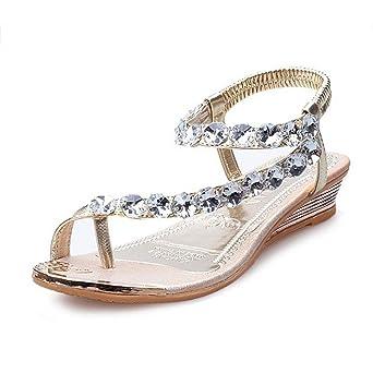 Sandalen Damen Btruely Frauen Bohmen Sandalen Flache Schnalle Schuhe