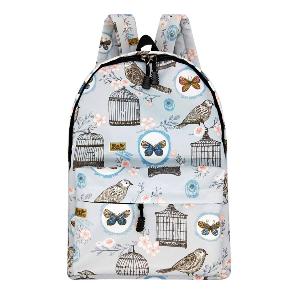 Lightweight Schoolbag Cute Printed Shoulder Bag Large Capacity Backpack Casual Travel Bag for Girls By Lmtime(D Multicolor)