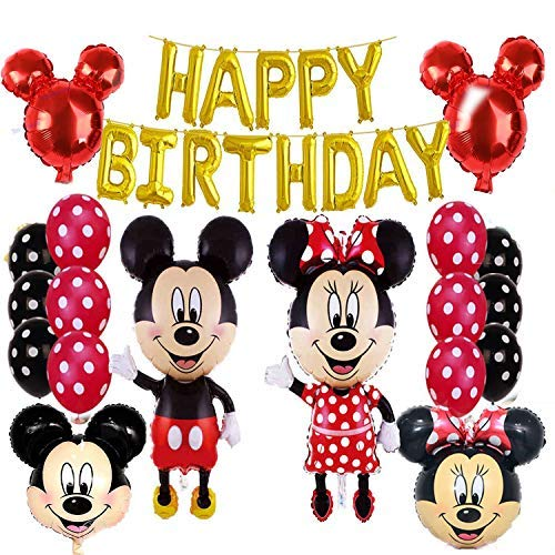 Mickey Mouse/Minnie Mouse Birthday Party Supplies and Red Polka Dot Balloon Decorations]()