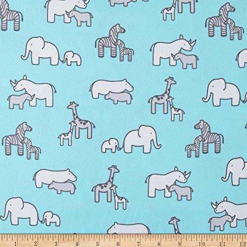 Robert Kaufman Kaufman Little Safari Flannel Collage Aqua Fabric by The Yard
