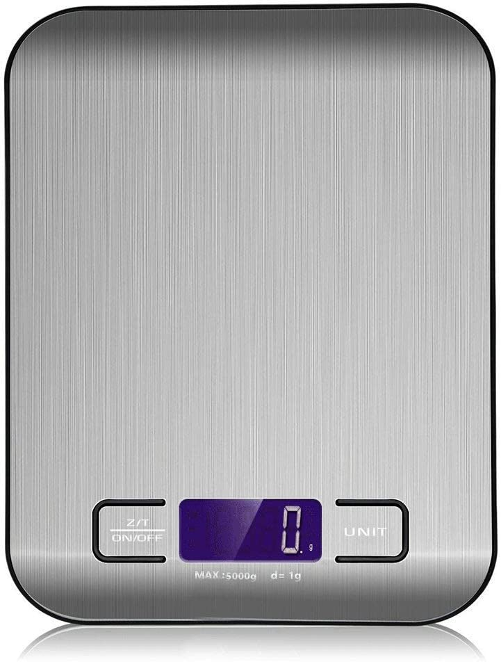 PRCMISEMED - Stainless Steel Digital Kitchen Scale, 5kg / 11 lbs, Multifunctional Food Scale digital weight grams and ounces