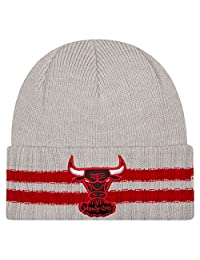 New Era Kid's Youth Chicago Bulls Windy City 2 Striped Cuffed Knit Beanie Grey Red