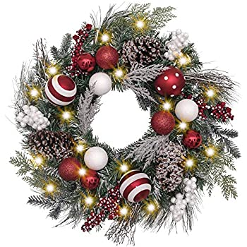 Valery Madelyn Pre-Lit 24 Inch Traditional Red White Christmas Wreath for Front Door with Ball Ornaments, Berries and Pine Cones, Battery Operated 20 LED Lights
