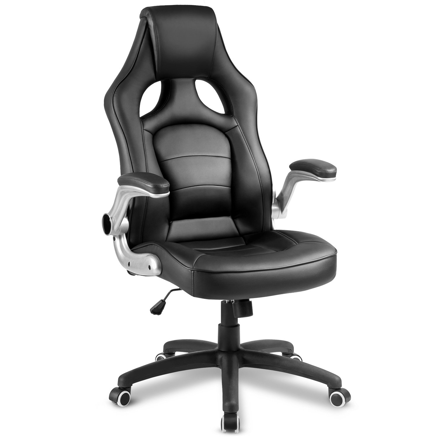 ModernLuxe Ergonomic Gaming Chair Racing Style Office Chair PU Leather Swivel Desk Chair (Black)