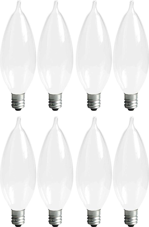 GE Lighting Soft White 66105 25-Watt, 215-Lumen Bent Tip Light Bulb with Candelabra Base, 8-Pack