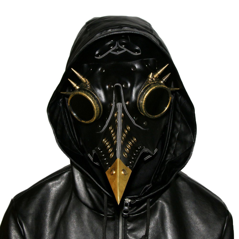 SaiDeng 2018 Halloween Party Plague Doctor Mask Cosplay Props Steampunk PU Leather Mask (Black3)