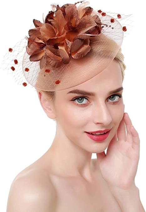 New White Feathers Ladies Womens Wedding Races Fascinator Hat Hair Clipper Veil