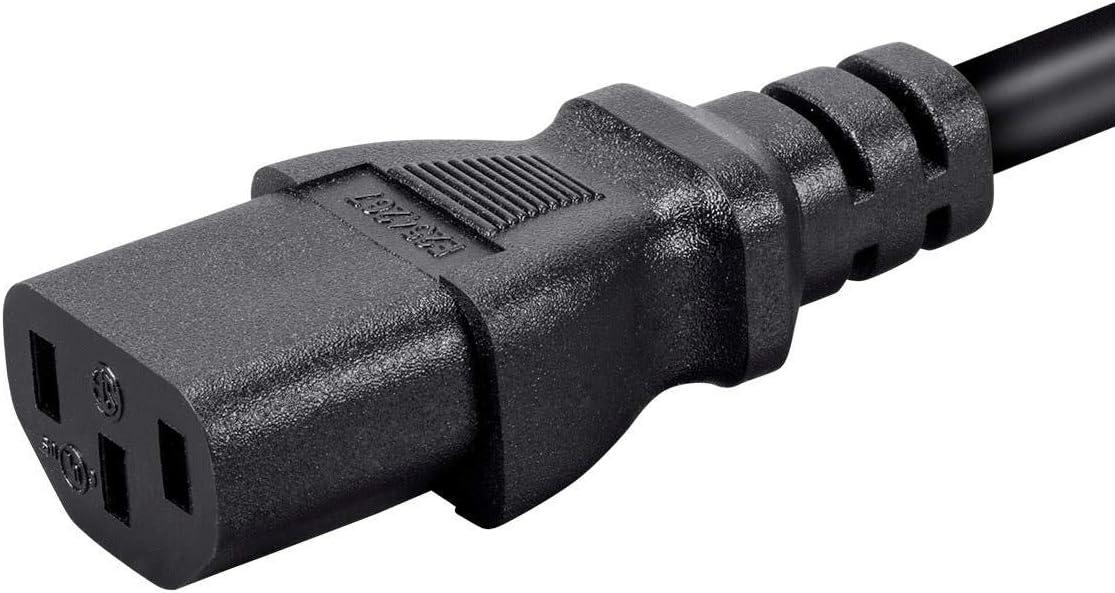 3 Feet Black 16AWG NEMA 5-15P to IEC-320-C13 Monoprice 127287 Hospital-Grade Power Cord 13A 10 Feet
