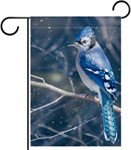 Garden Flag Blue Jay Bird Double Sided Garden Banner 12x18 inches Polyester Flag for Yard Outdoor Lawn Decorative