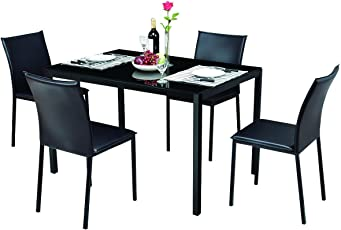 Great Tangkula Dining Table Set 5 Piece Home Kitchen Dining Room Tempered Glass  Top Table And Chairs