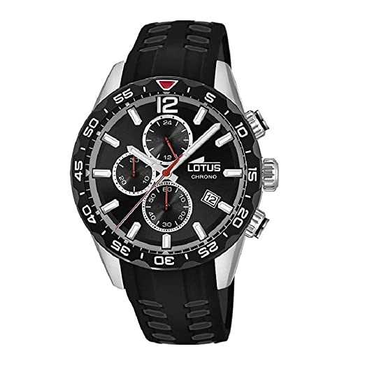 95d75bb9f Lotus Chrono Color Watch 18590/4 Black dial Black Rubber Strap:  Amazon.co.uk: Watches
