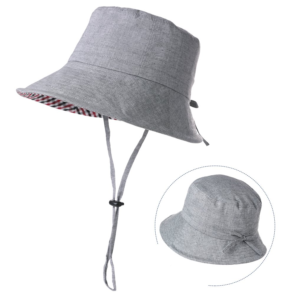 Fancet Large Head Womens Packable Sun Bucket Hat Short Brim Beach Safari Hiking Protection Bonnie SPF Dark Gray