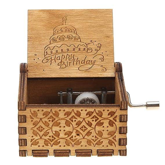 NELNISSA Cajas de música de cumpleaños Felices Manivela de Madera Caja de música Antigua Tallada Regalos de cumpleaños Decoración para el hogar (Camello): ...
