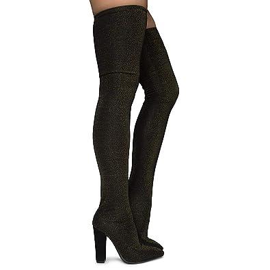 98cd0ef9ebf BAMBOO Women s Madam-33m Thigh high Heel Boot - Black Gold Size 5.5