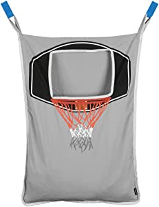 Avery Barn Hanging Over The Door Kids Laundry Basket for Boys or Girls - Dirty Clothes Hamper Bag, with Easy Zipper Release Bottom - Great for Bathroom or Bedroom - Basketball Hoop Goal