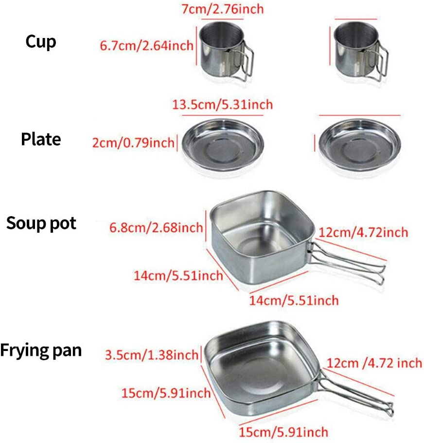 Portable Stainless Steel Cooking Equipment Pot and Pan Sets with Carry Bag for Ourdoor Picnic Camping Hiking Backpacking None Branded Camping Cookware Set