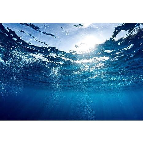 YongFoto 1,5x1m Vinilo Fondo de fotografía Fondo del océano Acuario Paisaje acuático Azul Burbujas