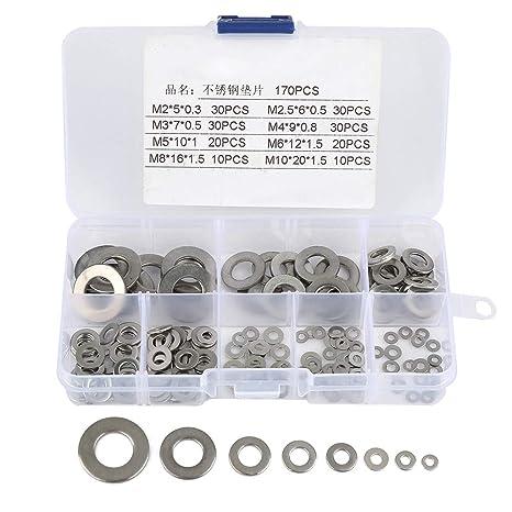 170pcs 8 talla - Caja surtida de Arandela plana de acero ...