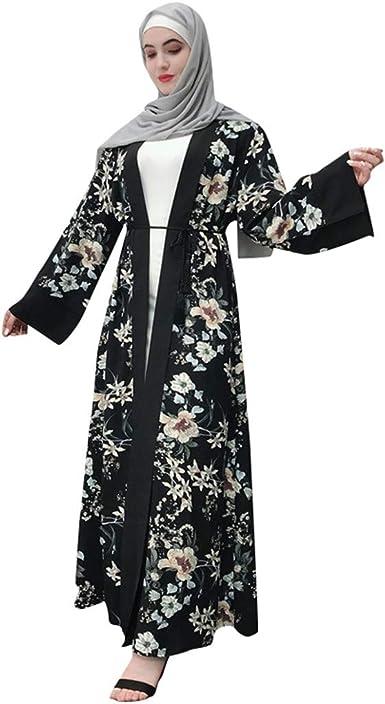 Open Kimono Abaya Dubai Kaftan Sequins Cardigan Muslim Maxi Dress Jilbab Ramadan