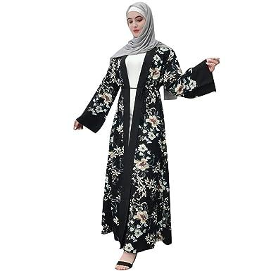 2d110eea5890f Amazon.com: Women Long Sleeve Casual Maxi Dress Muslim Dress for ...