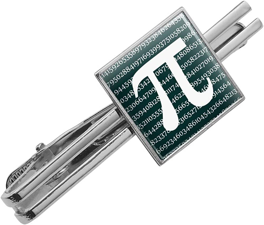 Graphics and More Pi Math Geek Nerd 3.14 Square Tie Bar Clip Clasp Tack Silver or Gold