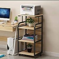 Printer Table, 4-Layer Simple Mobile Shelf, Office Home Floor Corner Storage Rack, with Roller, Steel-Wood Combination…
