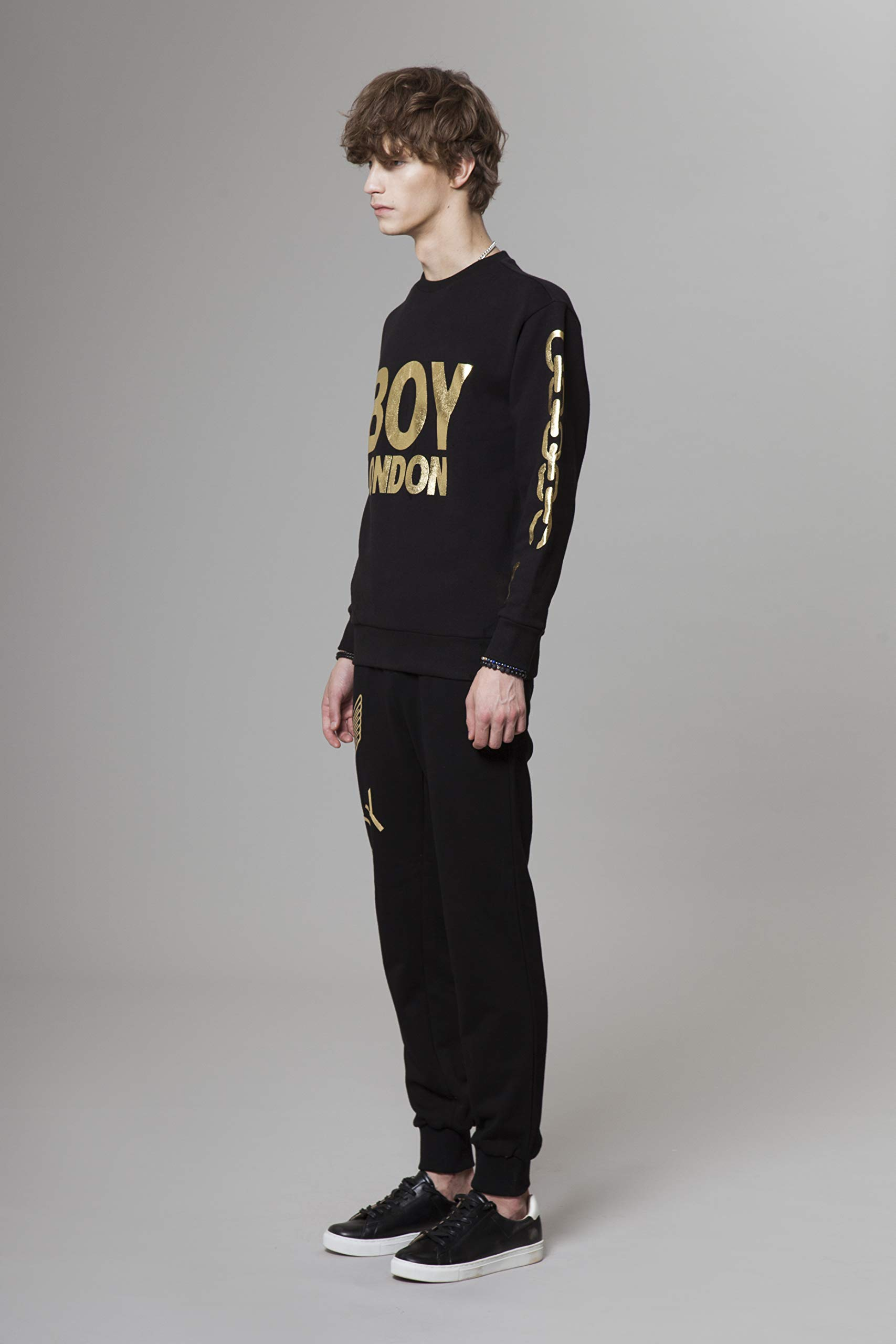 BOY LONDON Silver Chain Printed on Sleeves Sweatshirt-Black-Gold, Medium - BG4TL021 by BOY LONDON (Image #2)