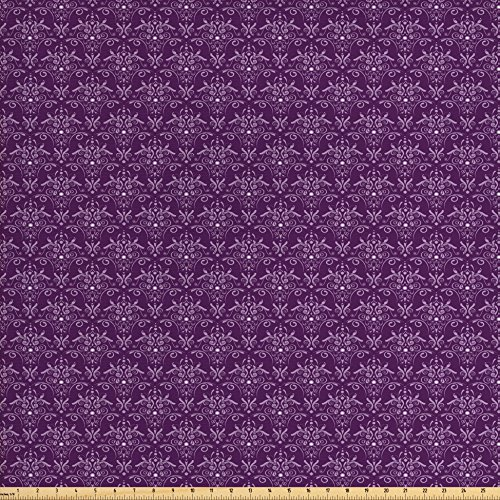 Ambesonne Eggplant Fabric by The Yard, Damask Pattern with Symmetrical Abstract Leaves and Swirls Forming Unified Look, Decorative Fabric for Upholstery and Home Accents, Purple Lilac