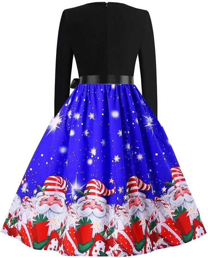 iYBUIA Fashion Women Vintage O-Neck Merry Christmas Print Long Sleeve Mesh A-Line Evening Party Dress