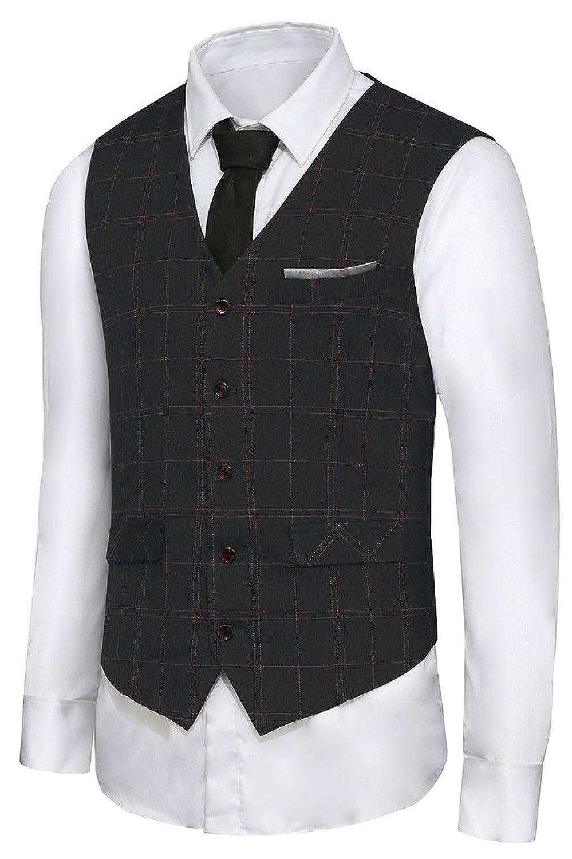 Men's Vintage Inspired Vests British Style Leisure Business Suit Dress Vest Waistcoat VS08 $28.50 AT vintagedancer.com