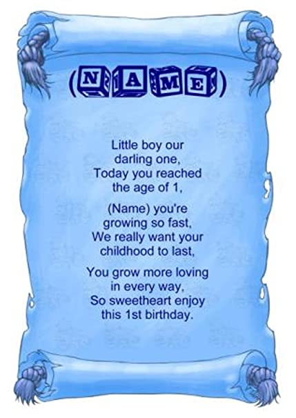 Personalised Poem Baby Boy First Birthday Gift Print