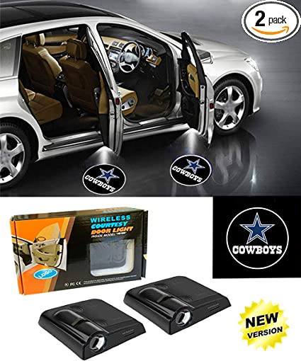 IHEX Auto 4pcs for Dallas Cowboys Wireless Car Door Led Welcome Laser Projector Car Door Courtesy Light Suitable for All Vehicles