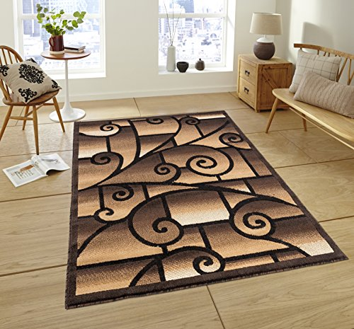 All New Modern Swirl Area Rug Royalty Collection by Rug Deal Plus (5' x 7', Brown/Beige) - Collection Area Rug Royalty