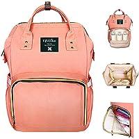 Life Color Diaper Bag Multi-Function Waterproof Travel Backpack (Orange Pink)