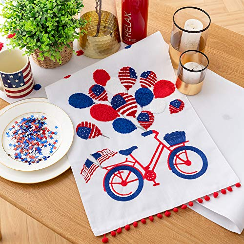 Cassiel Home 4th of July Independence Day Table Runner 14x108| Patriotic Decorations Embroidery Bycicle American Flag Balloon| Memorial Day Flag Day Patriotic Day Veterans Day