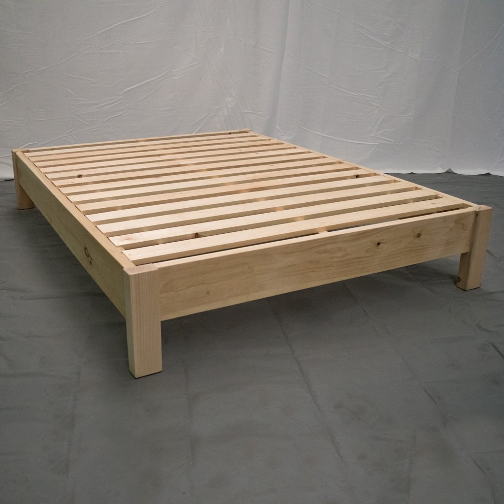 Unfinished Farmhouse Platform Bed – Queen Traditional Platform Frame Wood Platform Reclaimed Bed Modern Urban Cottage Platform Bed