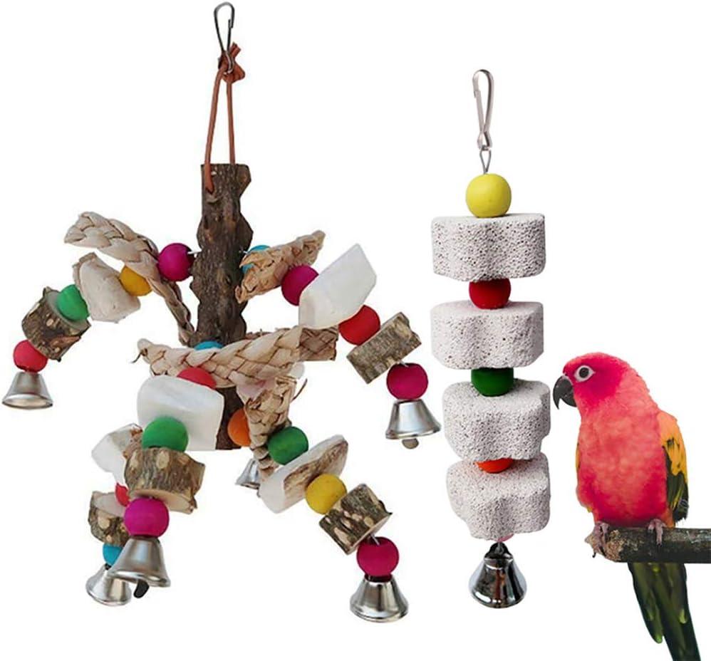 kathson Parrot Chewing Toy Cuttlebone Beak Grinding Stone Cage Hanging Toys Lava Block Calcium for Parakeet Cockatiel Hamster Chinchilla Rabbit.(2 PCS)