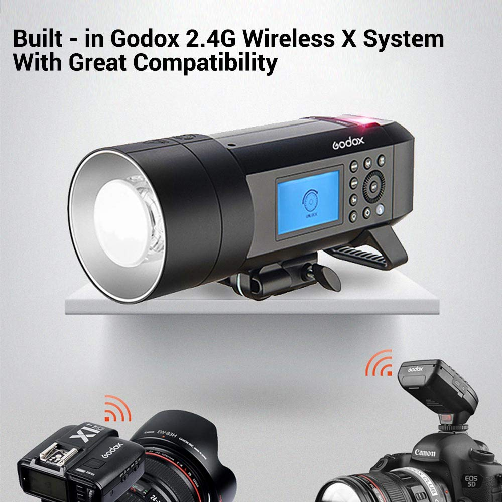 Godox AD400 Pro AD400Pro 400ws GN72 TTL Battery-Powered Monolight, 1/8000 HSS Outdoor Flash Strobe Light, Built-in Godox 2.4G System, 390 Full Power Pops, 0.01-1s Recycle Time, 30w LED Modeling Lamp by Godox (Image #5)