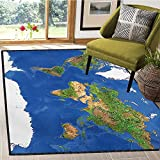 World, Bath Mat 3D Digital Printing Mat, Geography Cartography Theme Continents Vegetation Nature Oceans ICY Cold Lands, Bath Mat Non Slip 6x8 Ft Blue Green White