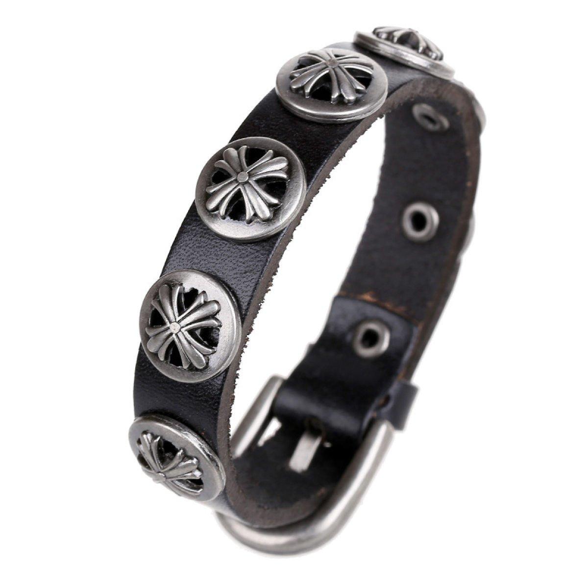 LZHMCircle De Piel Pulsera De La Pulsera para Unisex Personalizado Pulseras De Cuero Real La Cruz De Cadena del Remache La Hebilla del Cinturón Negro