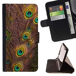 - PATTERN ART TALE BIRD PEACOCK FEATHER COLORS - - Prima caja de la PU billetera de cuero con ranuras para tarjetas, efectivo desmontable correa para l Funny HouseFOR Apple Iphone 4 / 4S