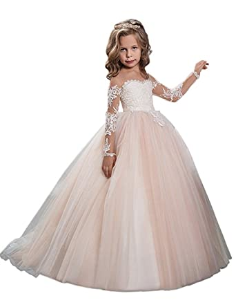 3fcce2d350e Amazon.com  Lilis 2017 New Formal Tulle Puffy Flower Gilrs Dresses Long  Sleeveless Appliques Girls First Communion Gowns  Clothing