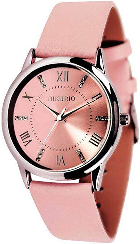 9731314de AIKURIO Women's Wrist Watch Analog Quartz with Leather Strap and Crystal  Dial 30M Waterproof Classic Daily