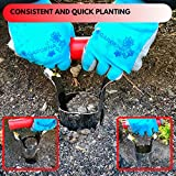 DREC Bulb Planter with Depth Markers, Spring Loaded Adjustable Handle for Soil Release, Ideal Bulb Transplanter for Gardening and Planting Tulips, Daffodils, Lily Complete with Mini Shovel