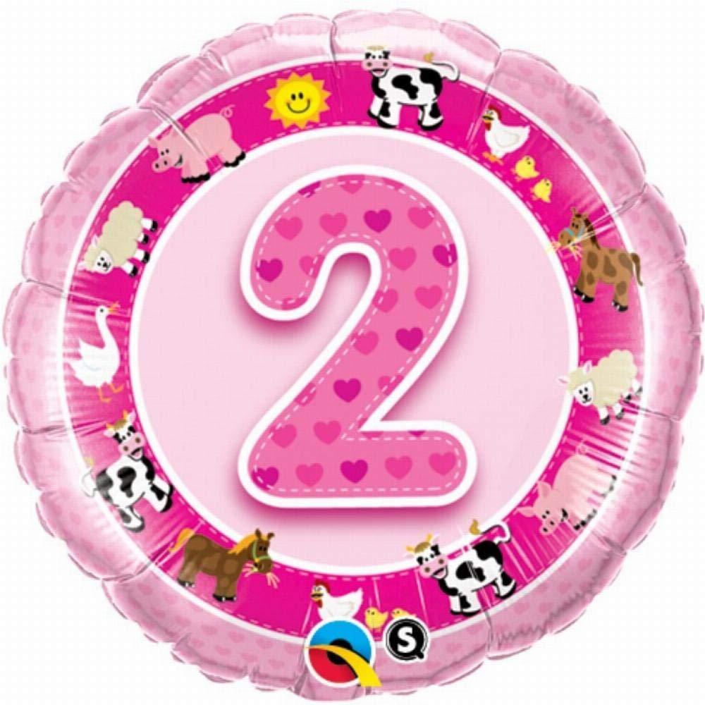 Qualatex Foil Balloon 026287 Age 2 Pink Farm Animals 18 Multicolor
