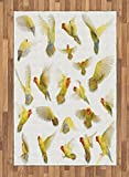 Birds Area Rug by Ambesonne, Collection of Flying Rosy Peach Faced Love Birds Wild Life Colored Feathers Wings, Flat Woven Accent Rug for Living Room Bedroom Dining Room, 4 x 6 FT, Multicolor