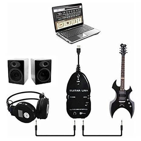 Cable adaptador de conexión para guitarra eléctrica a USB, color blanco o negro