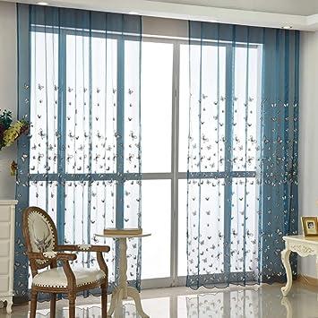 Voile Vorhänge Ösen plissiert zwei Panele Window Treatment ...