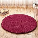 Circular rug man basket lift children bedroom bed living room study desk anti-slip pad diameter 2.0, wine red